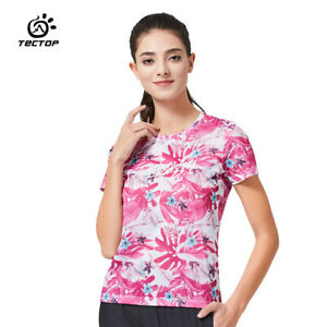 Outdoor Flower design T-Shirt Women Sports Quick-dry Stretch Breathable Tops