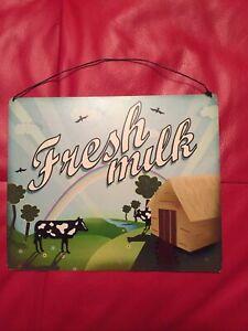 FRESH MILK SIGN VINTAGE RETRO METAL SIGN FARMHOUSE KITSCH CAFE STYLE