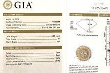 GIA loose certified .55ct VS1 H European circular brilliant round diamond