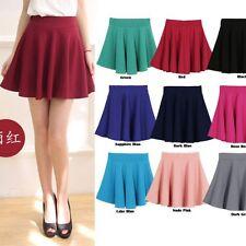 Fashion Girl Women High Waist Skater Mini Skirt Plain Flared Pleated Short Skirt