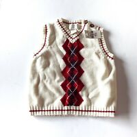 NWT Children's Place White Sweater Vest Red Argyle Holiday Size 12 Months