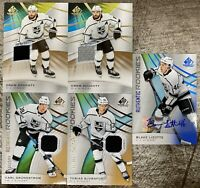 2019-20 SP GAME USED 5x LA KINGS JERSEY AUTO LOT GRUNDSTROM DOUGHTY LIZOTTE RC