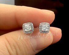 New! Ladies Cushion Cut Earrings 14k White Gold gp Simulate Diamond Womans Studs