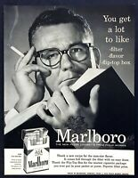 1956 Man Smoking & Reading a Book photo Marlboro Cigarettes vintage print ad