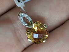 Genuine 9k yellow gold Citrine diamond pendant bright sparkly certificate