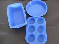 Silicone Mould Set Of 3 Large Loaf, 18cm Round And 6 Cup Muffin Fairy Cake Tin