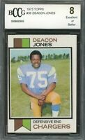 1973 topps #38 DEACON JONES san diego chargers BGS BCCG 8