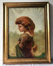 Antico quadro - Olio su tela -Ritratto fanciulla napoletana - G. Esposito