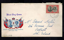 1937 Canada first day cover Coronation Cachet Fdc Kgvi King george 6 to Belfast