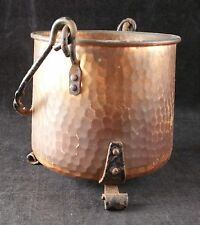Vintage Miniature Hammered Effect Copper Cauldron with Iron Handle & Feet, 9cm H