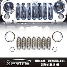 11pc Chrome Headlight Trim Front Mesh Insert Grille Cover 07-17 Jeep Wrangler JK