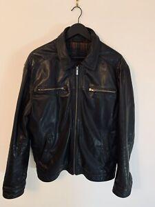 Magnifique veste Burton of london cuir noir doublure écossais taille XL