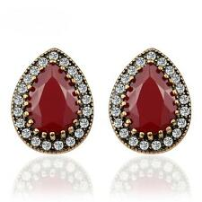Women Resin Rhinestones Crystal Ear Stud Gold Plated Wedding Earrings Jewelry Red