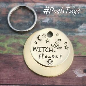 Witch, please! - witch moon hat handmade stamped pet cat dog tags ID PoshTags