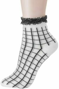 Girly PL4906 Grid Print Ankle Socks with Lace Frills, White/Black