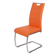 Schwingstühle Flora s orange NAHT weiß PU 2er Pack