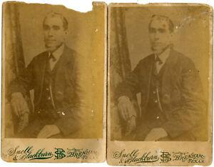 PAIR Late 1800s Cabinet Card - Seated Bearded Man - Snell & Blackburn Brenham TX