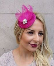 Hot Pink Silver Feather Pillbox Hat Fascinator Hair Clip Vintage Races 40s 2951
