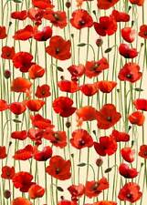 Anzac Day Remembering Day Red Poppies Cream Bckgrnd Cotton Quilting Fabric 1/2YD