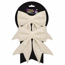 Christmas Tree Decoration 2 Pack 16cm Glitter & Sequin Bows - White