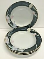 "SET OF 4 MIKASA FINE CHINA CHARISMA BLACK SOUP BOWLS 8 3/8"" L9050 JAPAN"