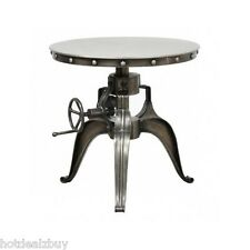 Industrial Round Table Crank Iron End Accent Adjustable Height Metal Hardware