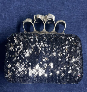 Skull Knuckle Box Four Ring Handle Clutch Minaudiere Sequined Black/Silver Used
