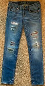 American Eagle SKINNY Destroyed & Patched Medium Blue Denim Jeans Women 4