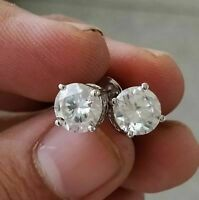 Solid 14k White Gold GP 4.00Ctw Round Solitaire Moissanite 4-Prong Stud Earrings