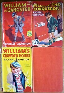 "RICHMAL CROMPTON 5 x ""WILLIAM"" 1930's HARDBACKS OUTLAW, GANGSTER, CONQUEROR etc"