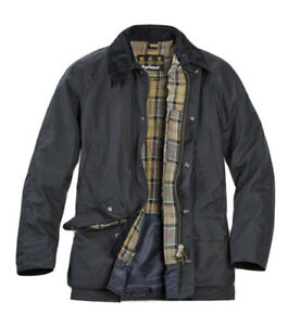 Men's Barbour Ashby Waxed Jacket Navy Blue Size Medium MSRP $415