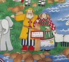 Noah's Ark Women's ScrubTop Small Zebra Giraffe Elephant Sheep Cat Short Sleeve