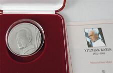 Israel 1995 P.M. Yitzhak Rabin State Medal 60g 50mm Pure Silver 999 +COA +box
