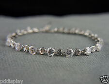 18k white Gold GF with Swarovski crystals brilliant bangle bracelet
