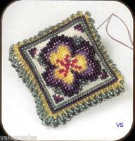 Mill Hill Magnetic Beaded and Stitched Linen Kit Pin Pillow ~ PANSY PETALS #3