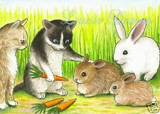 ACEO LE art print Cat 347 rabbit from original painting by L.Dumas