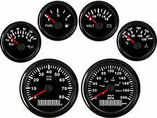 6 Gauge Set Speedometer Tacho Fuel Volts Meter Oil Pressure Temp Black Usa Stock