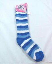 "FUZZY SLIPPER SOCKS EXTRA LONG 18"" Blue Light Blue White STRIPED Size 9-11 A"