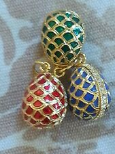 Trio Red, blue, green enamel Easter egg pendants: gold criss cross and crystals