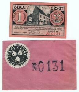 Geldschein-Tütchen mit 1 Markschein der Stadt Orsoy