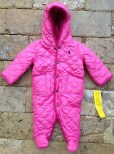 RL Polo Ralph Lauren Baby Girls Barn Quilted Bunting Snowsuit Pink 6 Months