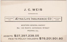 RARE 1800s AETNA LIFE INSURANCE CO JC WEIS REPRESENTING BUSINESS CARD PEORIA IL