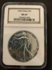 1989 American SILVER EAGLE NGC MS 69 Dollar Coin #399