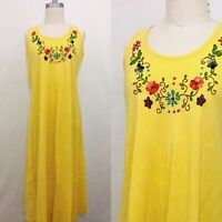 Vintage 70s Mexican Yellow Cheesecloth Embroidered Sundress Medium