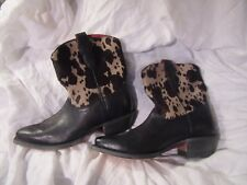 H S Trask Black  Ladies Western Cowboy Boots Leather With Fur Hide Upper 7B