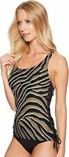 Michael Kors Extra Small Black Zebra Animal Print Side Lace Tankini Top NWT XS