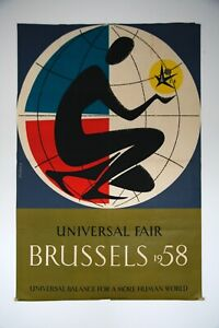 RARE Original 1958 Expo Universal Fair Brussels Jacquet Richez POSTER Pop Art
