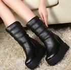 Womens snow boots platform hidden heel platform mid calf boots winter shoes MOON