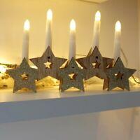 Pre-Lit Christmas LED Star Wooden Candle Bridge Ornament Xmas Decoration Light