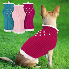 Cute Knitted Dog Winter Jumper Girl Female Dog Lace Pearl Clothes Sweater Coat
